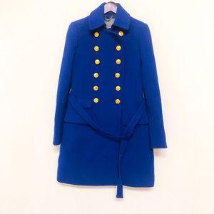 Jcrew double cloth royal blue wool coat nautical